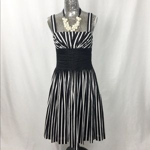 WHBM Sleeveless Black and White Striped Dress
